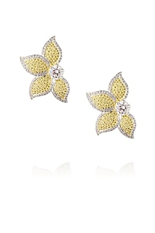 Gold finish white and yellow zircons half flower shape earrings by Born 2 Flaaunt by Abhishek & Shrruti