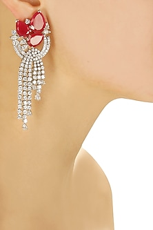 Three teardrop ruby stones and swarovski earrings with hangings