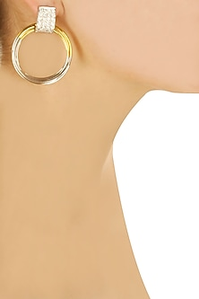 Half and half Silver gold hoops with swarovski studs