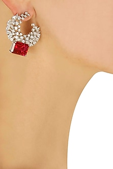 Marquis cut swarovski earrings with square ruby drop