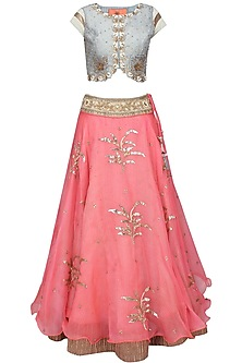 Coral 3D leaves sequins and zardozi embroidered lehenga and blouse set