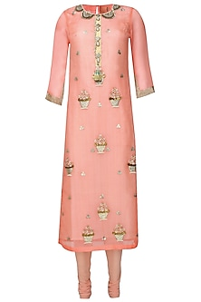 Coral 3D floral embroidered straight kurta set