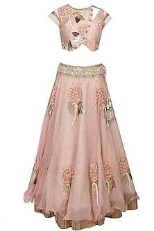 Blush peach 3D floral sequins and zardozi embroidered lehenga and blouse set