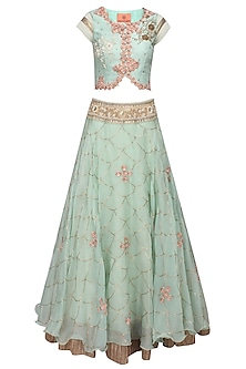 Mint green 3D floral embroidered lehenga and jacket blouse set