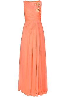 Bright peach 3D floral embroidered draped anarkali