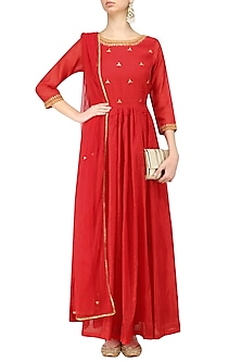 Red Gota Patti Embroidered Anarkali Set by Surendri by Yogesh Chaudhary