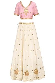 White Gota Patti Embroidered Lehenga and Pink Blouse Set by Surendri by Yogesh Chaudhary