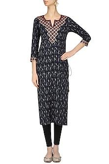 Indigo Ikkat Hand Embroidered Long Tunic by Surendri by Yogesh Chaudhary