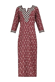 Rust Ikkat Hand Embroidered Long Tunic