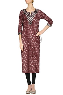 Rust Ikkat Hand Embroidered Long Tunic by Surendri by Yogesh Chaudhary