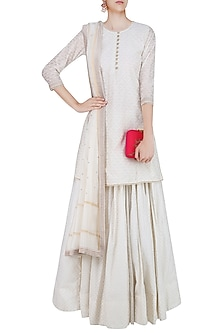 Off White Pearl Embroidered Short Kurta and Skirt Set by Surendri by Yogesh Chaudhary
