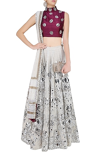 6c35ced802f1 Off white and silver floral foil work lehenga and maroon blouse set  available only at Pernia's Pop Up Shop.