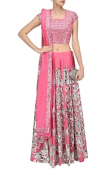 Pink Dot Embroidered Chanderi Lehenga and Blouse Set by Surendri by Yogesh Chaudhary