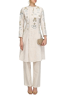 Off White Foil Embroidered Jacket and Pants Set by Surendri by Yogesh Chaudhary