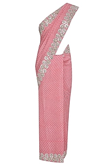 Pink Printed Foil Work Saree with Embroidered Blouse by Surendri by Yogesh Chaudhary