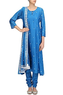 Turquoise Blue Dots Embroidered Straight Kurta Set by Surendri by Yogesh Chaudhary