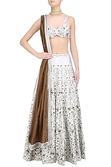 Silver Thread and Sequins Embroidered Lehenga and Blouse Set by Surendri by Yogesh Chaudhary