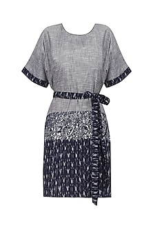 Grey and Blue Foil Embellished Shirt Dress by Surendri by Yogesh Chaudhary