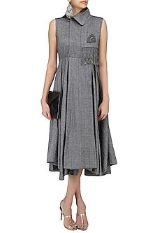 Grey Wrap Around Dress by Surendri by Yogesh Chaudhary