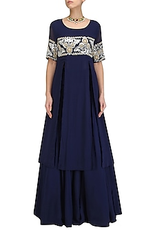 Blue Hand Embroidered Anarkali Tunic and Lehenga Skirt Set by Surendri by Yogesh Chaudhary