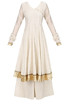 White Angrakha Style Anarkali Kurta and Sharara Pants Set