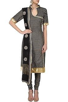 Black Printed Straight Suit Set with Chanderi Dupatta by Surendri by Yogesh Chaudhary