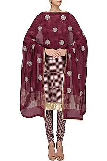Maroon Printed Straight Suit Set with Chanderi Dupatta by Surendri by Yogesh Chaudhary