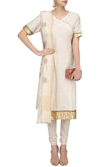 Off White Printed Straight Suit Set with Chanderi Dupatta by Surendri by Yogesh Chaudhary