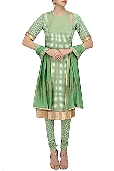Green Printed Straight Suit Set with Chanderi Dupatta by Surendri by Yogesh Chaudhary
