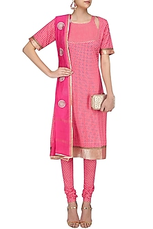 Pink Printed Straight Suit Set with Chanderi Dupatta by Surendri by Yogesh Chaudhary