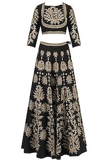 Black Zari Leaves Embroidered Lehenga and Blouse Set by Surendri by Yogesh Chaudhary