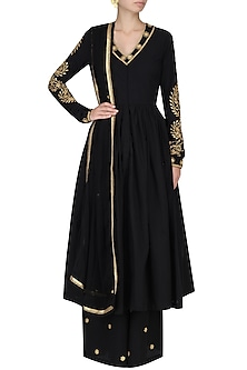 Black Zari Leaves Embroidered Anarkali with Palazzo Pants by Surendri by Yogesh Chaudhary