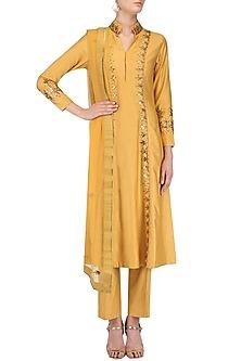 Mustard Yellow Zari Embroidered Kurta and Pants Set by Surendri by Yogesh Chaudhary