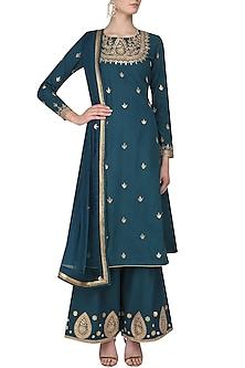 Turquoise Gota Patti Embroidered Kurta and Sharara Pants Set by Surendri by Yogesh Chaudhary