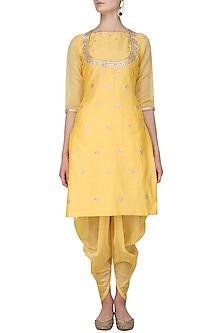 Yellow Gota Patti Work Kurta and Dhoti Pants Set by Surendri by Yogesh Chaudhary