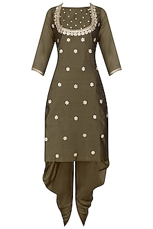 Coffee Gota Patti Work Kurta and Dhoti Pants Set