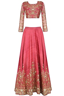 Pink Zari Leaves Embroidered Lehenga and Blouse Set by Surendri by Yogesh Chaudhary