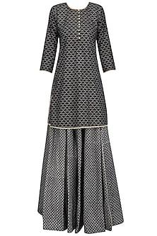 Black Pearl Embroidered Short Kurta and Skirt Set by Surendri by Yogesh Chaudhary