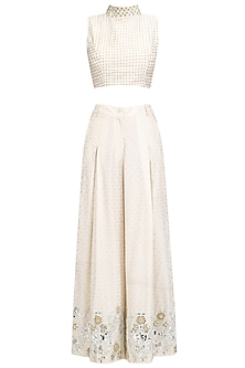 White Foil Work Printed Flared Pants and Crop Top Set
