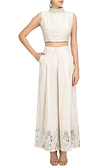 White Foil Work Printed Flared Pants and Crop Top Set by Surendri by Yogesh Chaudhary
