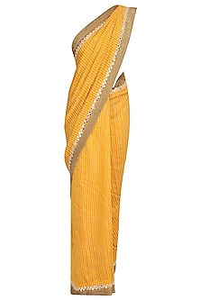 Yellow Foil Dot Work Printed Saree with Off-Shoulder Blouse
