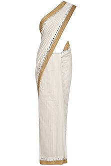 Off White Foil Dot Work Printed Saree with Off-Shoulder Blouse