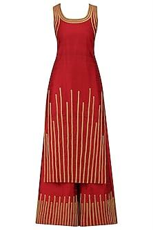 Red and Gold Lace Work Kurta and Sharara Pants Set by Surendri by Yogesh Chaudhary
