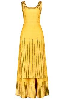 Yellow and Gold Lace Work Kurta and Sharara Pants Set by Surendri by Yogesh Chaudhary