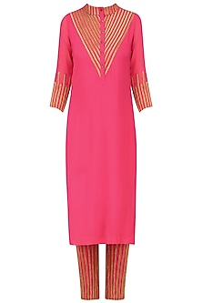 Pink and Gold Lace Work Kurta with Straight Pants by Surendri by Yogesh Chaudhary