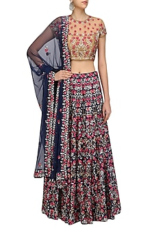 Navy Blue Floral Embroidered Lehenga and Nude Blouse Set by Surendri by Yogesh Chaudhary