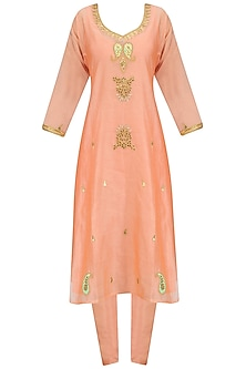 Peach Maroodi Embroidered Kurta Set with Mint Dupatta