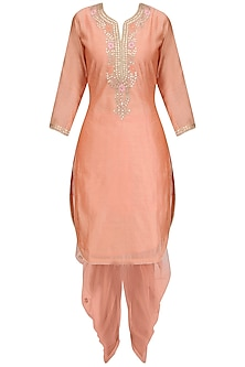 Peach Floral Maroodi Embroidered Kurta and Dhoti Pants Set by Surendri by Yogesh Chaudhary