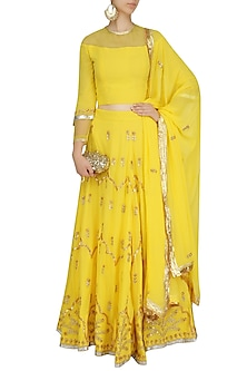 Yellow Gota Patti Embroidered Lehenga and Blouse Set by Surendri by Yogesh Chaudhary