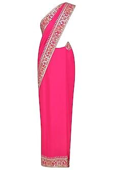 Pink Gota Patti Embroidered Saree and Blouse Set